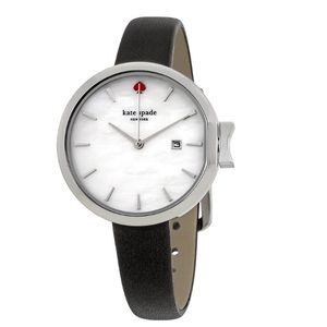 NWT kate spade black leather skinny silver watch